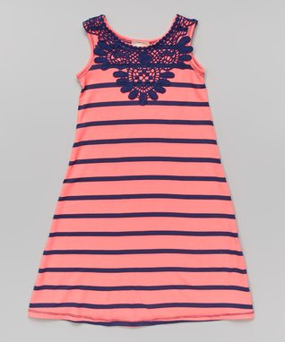 Neon Pink & Navy Maxi Dress - Toddler & Girls