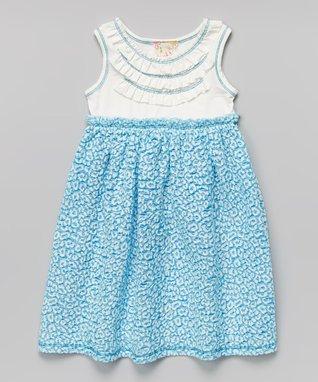 Blue Leopard Ruffle Babydoll Dress - Toddler & Girls