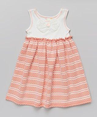 Coral Stripe Babydoll Dress - Toddler & Girls