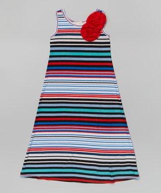 Royal Stripe Rosette Maxi Dress - Girls