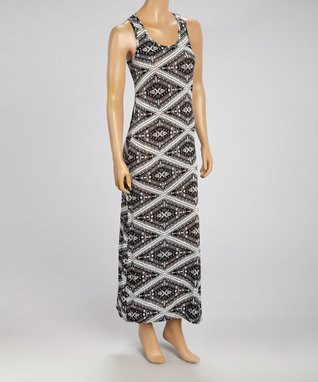 Black Mountain Apparel Black & White Geo Maxi Dress