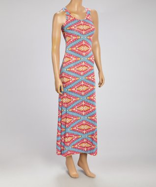 Black Mountain Apparel Pink & Mint Geo Maxi Dress