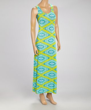Black Mountain Apparel Green & Aqua Geo Maxi Dress