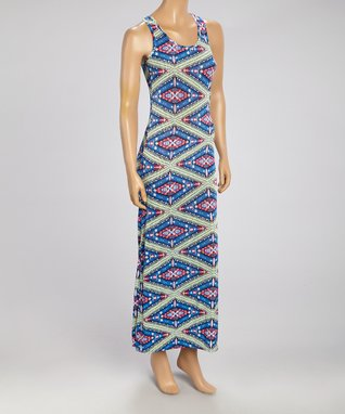 Black Mountain Apparel Blue & Lime Geo Maxi Dress