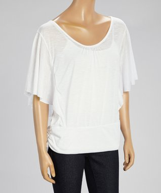 Black Mountain Apparel White Angel-Sleeve Top