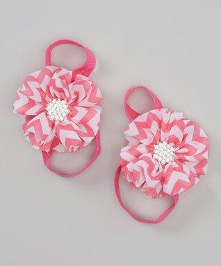 Pink Zigzag Barefoot Sandal