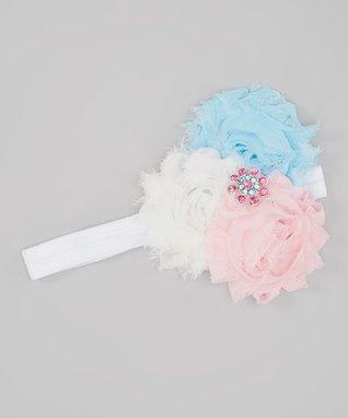 White & Light Pink My Princess Baby Headband