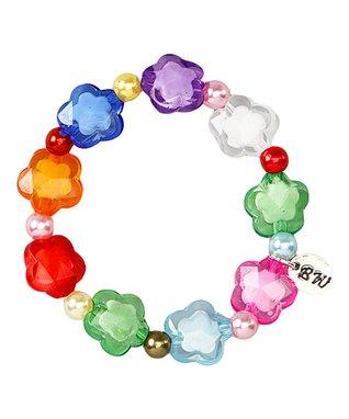 Pink & Gray Ring-O-Flowers Stretch Bracelet
