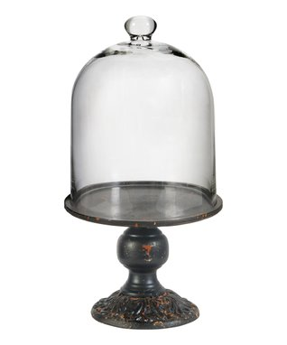 Rustic Metal Stand & Glass Cloche Set