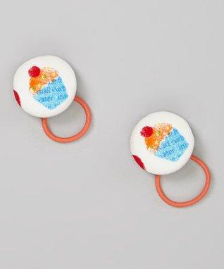 Baby Raindrops White & Blue Glitter Cupcake Hair Tie Set