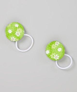 Baby Raindrops White & Green Daisies Hair Tie Set