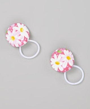 Baby Raindrops White & Pink Daisies Hair Tie Set