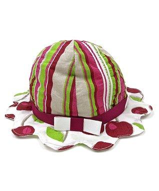 Il Trenino Lime & Green Cherry Stripe Bucket Hat