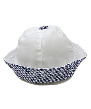 Il Trenino White & Navy Gingham Sailor Hat