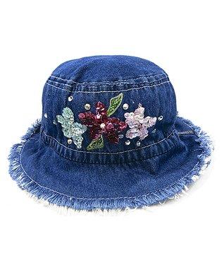 Il Trenino Blue Denim Flower Fringe Bucket Hat