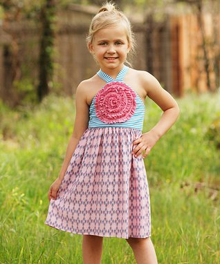 Mia Belle Baby Dusty Rose Boho Lace Dress - Toddler & Girls