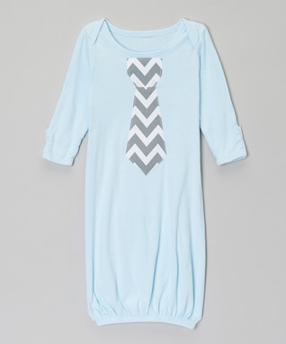 Light Blue & Gray Zigzag Tie Gown - Infant