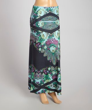 Blue & Black Floral Maxi Skirt