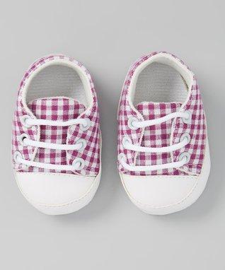 Lavender & White Gingham Crib Shoe