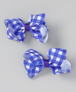 Lavender & White Gingham Bow Clip