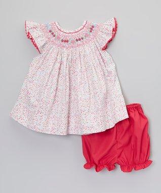 Pink Floral Smocked Dress & Bloomers - Infant & Toddler