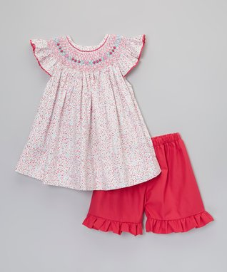 Pink Floral Smocked Dress & Ruffle Shorts - Toddler & Girls