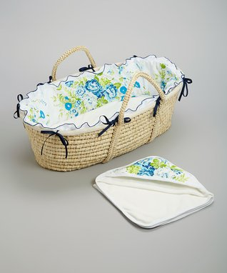 White & Blue Hampton Moses Basket Set