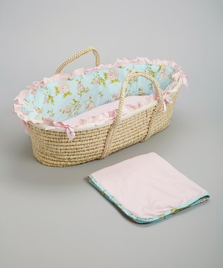 Pink & Blue Floral Hampton Moses Basket Set