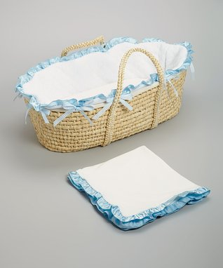 White & Baby Blue Quilted Moses Basket Set