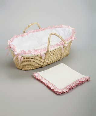 White & Baby Pink Quilted Moses Basket Set