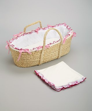 White & Pink Quilted Moses Basket Set