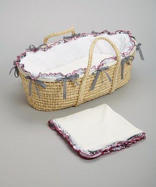 White & Black Quilted Moses Basket Set