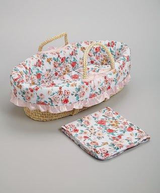 Pink Floral Moses Basket Set