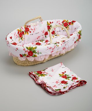 Pink Cherry Blossoms Moses Basket Set