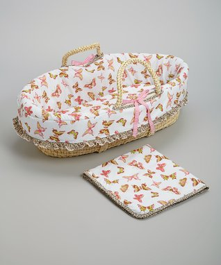 Pink Butterfly Moses Basket Set
