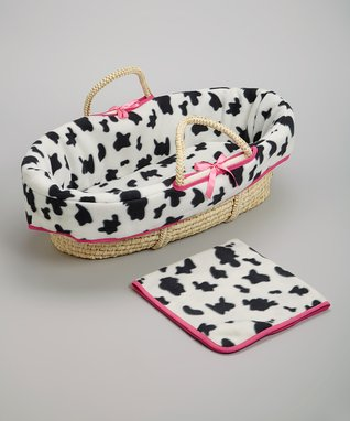 White & Black Cow Moses Basket Set