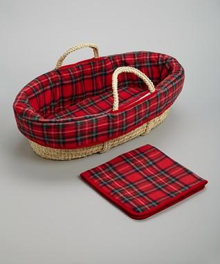Red & Green Plaid Moses Basket Set