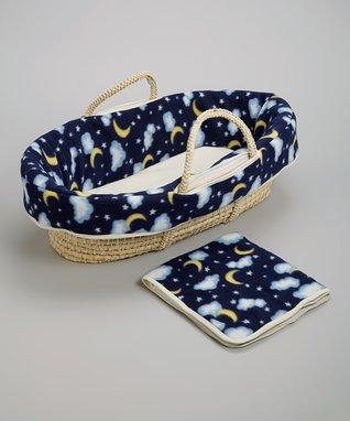 Blue Goodnight Luna Moses Basket Set