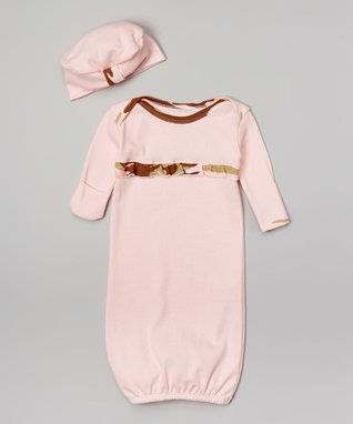 Pink Camo Gown & Beanie