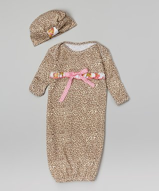 Tan & Pink Butterfly Gown & Beanie