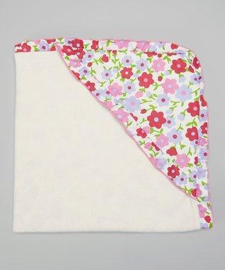 Pink Retro Poppies Hooded Blanket