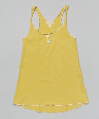 Yellow Flower-Button Tunic - Girls