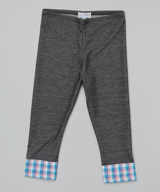 Dark Wash Plaid Cuff Capri Leggings - Girls