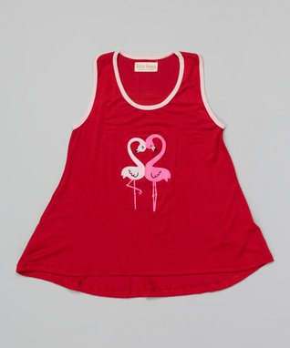 Red Flamingo Tank - Girls