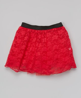 Red Lace Skirt - Girls