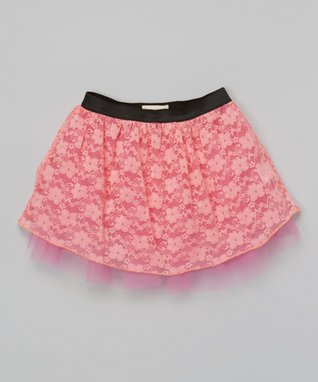 Candy Pink Lace Skirt - Girls