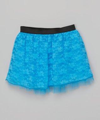 Aqua Lace Skirt - Girls