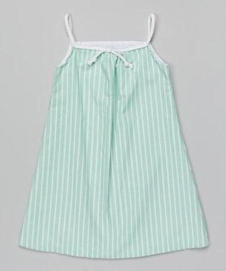 Mint Stripe Dress - Girls