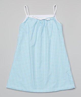 Aqua Stripe Dress - Girls