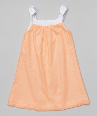Peach Shimmer Dress - Toddler & Girls